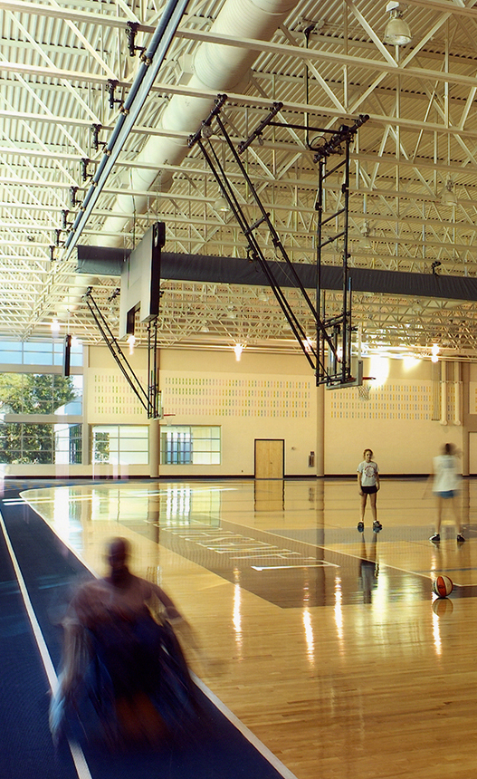 Multipurpose Recreation Facility on the Lakeshore Foundation campus in Birmingham AL; adapted athletic competition and training space for US Paralympic Rugby team and rehabilitation + recreation space for Foundation's adapted population of users; architecture - interior design - planning by KPS Group Inc